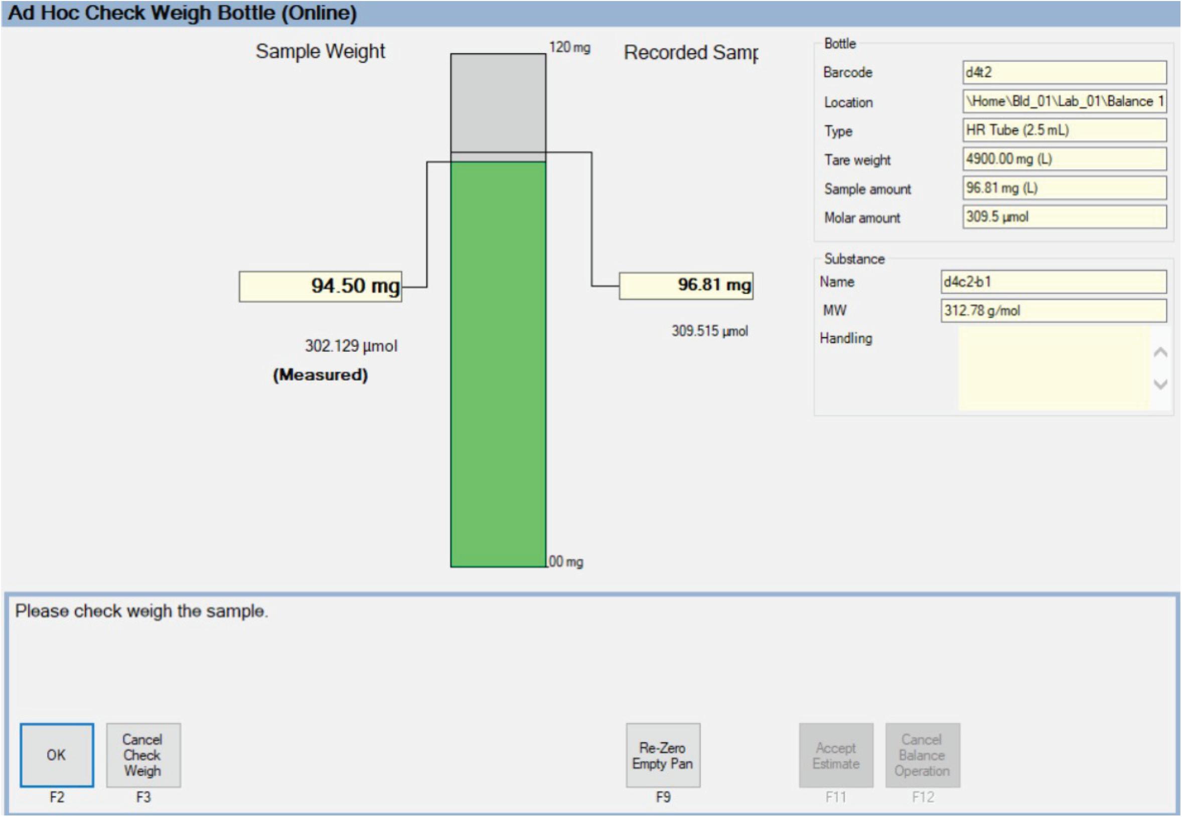 Weighing Screenshot